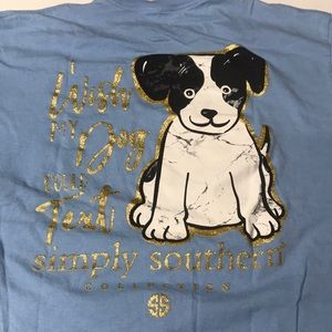 SIMPLY SOUTHERN Women's Large Blue Dog Tee Shirt